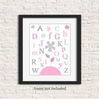 pink and grey alphabet nursery art print in frame