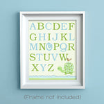 alphabet nursery print with turtle