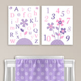 Set of two nursery art prints for a baby girl with flowers and the alphabet and numbers