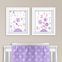 Pink and purple alphabet and numbers prints
