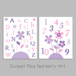 Alphabet Nursery Art | Baby Girl Decor | Number Wall Art | Set of 2 Prints | Paper or Canvas