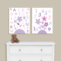 alphabet and numbers baby girl prints
