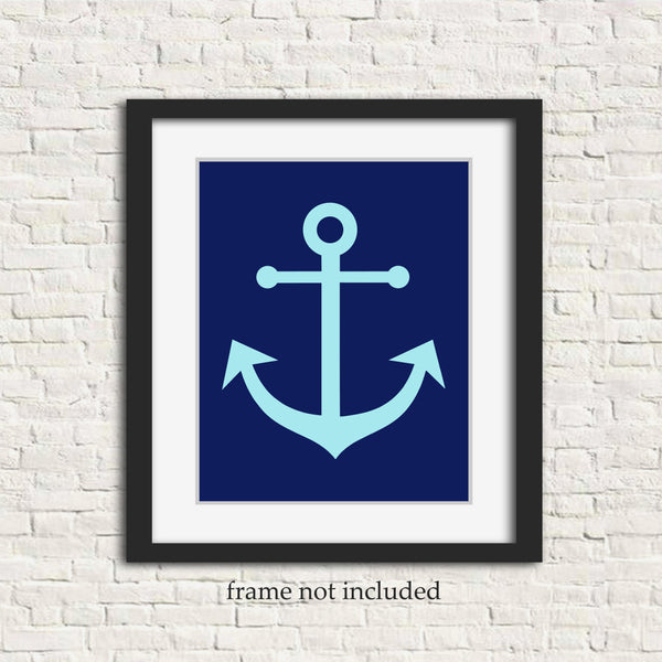 navy and light blue anchor print in frame