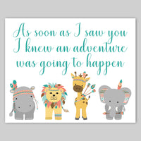 pooh quote with tribal zoo animals