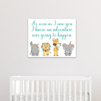 as soon as I saw you nursery art print with tribal zoo animals