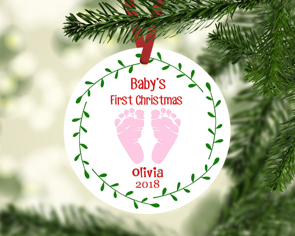 Baby's First Christmas Ornament | Baby Feet Blue or Pink | Personalized Christmas Ornament