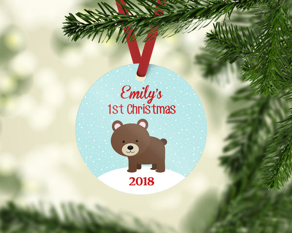 Baby's First Christmas Ornament, Woodland Bear