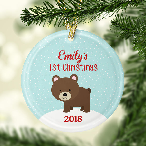 baby's first christmas bear glass ornament