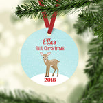 personalized fawn Christmas ornament