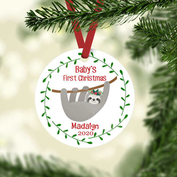 sloth baby ornament