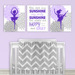 set of three purple and gray ballerina canvas prints