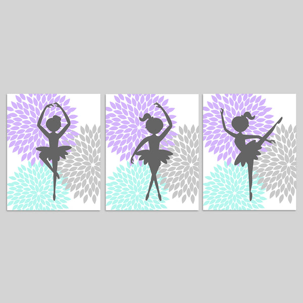 set of three purple and mint ballerina pictures