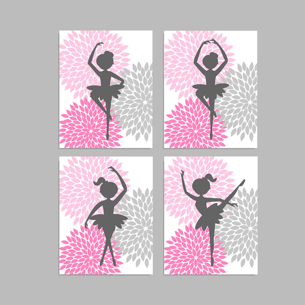 set of four gray and pink ballerina art prints