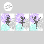 set of three printable ballerina prints