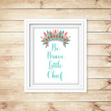 "tribal nursery print with the saying ""be brave little chief"" with an Indian headdress"