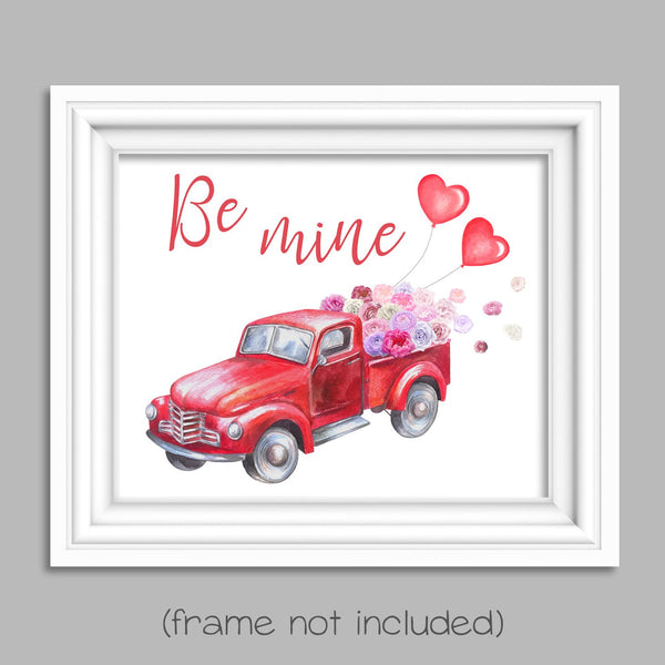 red truck valentine's day art print