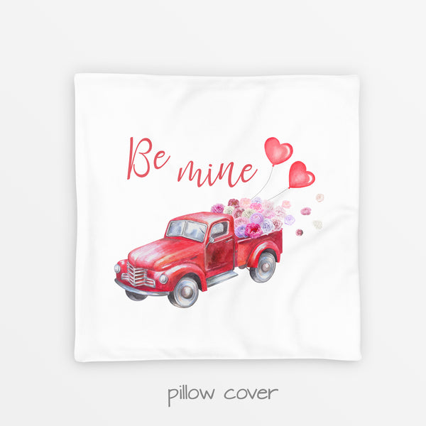 red truck pillow cover for valentine's day