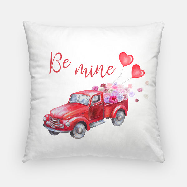 Valentine's Day Red Truck Throw Pillow