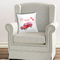 valentine's day red truck pillow