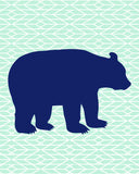 mint and navy tribal bear nursery art