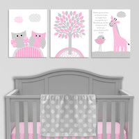 Set of three gray and pink baby girl nursery canvas prints