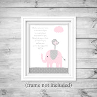 before you were born poem nursery print with pink elephant in frame
