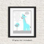 before you were born nursery poem art print with giraffe
