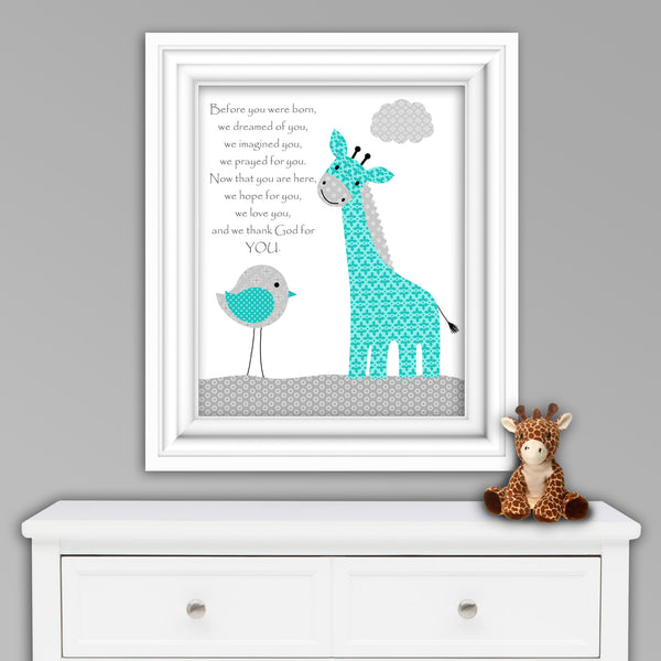 before you were born poem nursery print with giraffe in gray and teal