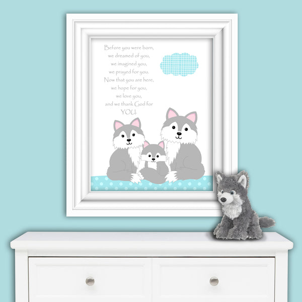 Nursery print with the poem Before You Were Born with wolves