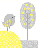 grey and yellow nursery print
