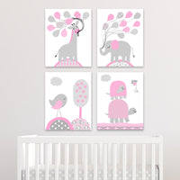 gray and pink animal nursery canvases