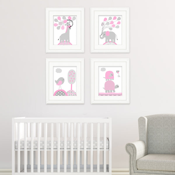 gray and pink nursery animal prints