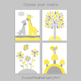 grey and yellow nursery art prints