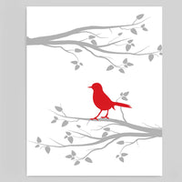 Red and Grey Modern Bird Wall Art | Printable Nursery Decor | Instant Download | DIY Decor