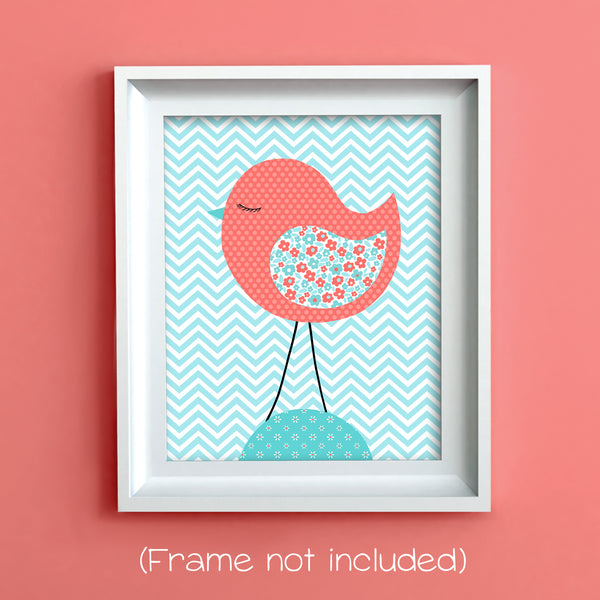 aqua and coral bird nursery art print