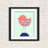coral, mint and navy bird nursery print