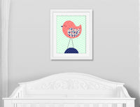 bird on chevron nursery print