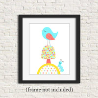 nursery art print of a bird on a mushroom in aqua coral and yellow
