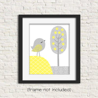 grey and yellow nursery art print