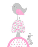pink and grey bird baby wall art
