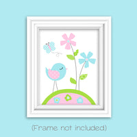 Bird print with flowers and butterfly for baby girl nursery