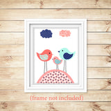 aqua, coral and navy nursery art print with three birds