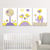 Purple and yellow baby girl nursery art