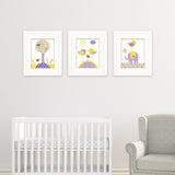 Yellow and purple nursery wall art