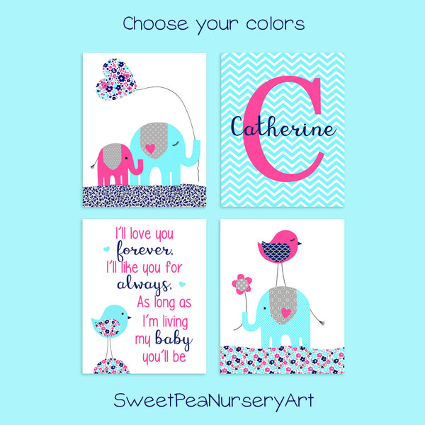set of four aqua, fuchsia and navy nursery art prints with elephants and birds and monogram print