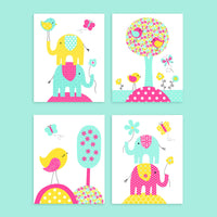 birds and elephants nursery decor