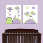 set of 2 green and purple nursery prints