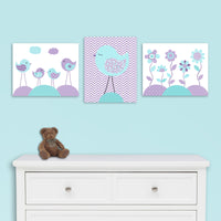 aqua and purple canvas decor
