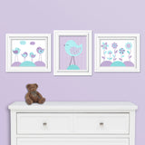 aqua and purple bird and flower nursery prints