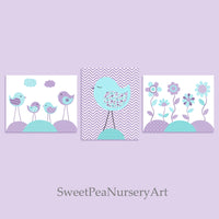 Set of three aqua and purple nursery bird pictures